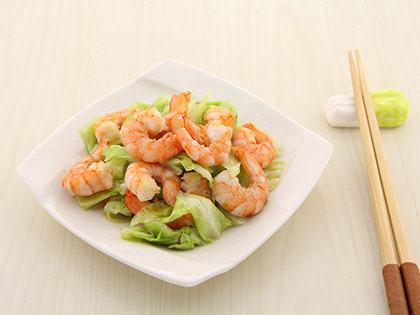 包菜鲜炒虾仁