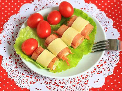 火腿卷蔬菜
