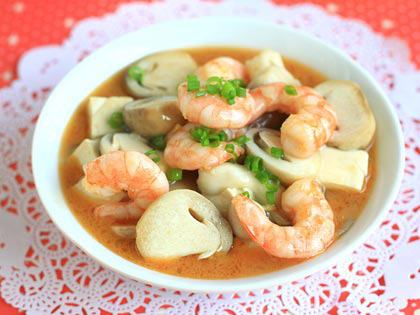 蘑菇豆腐焖虾