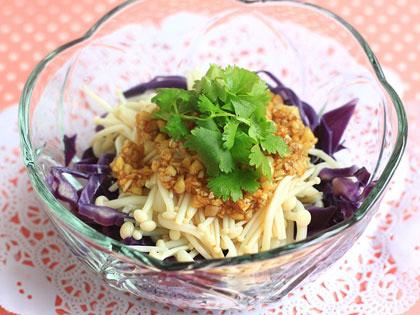金针菇拌紫甘蓝