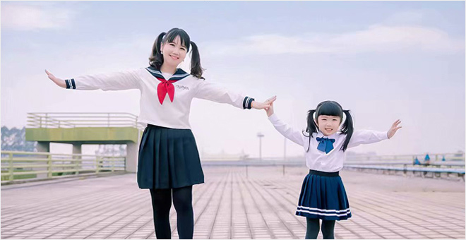 日系校园风 亲子美拍秀
